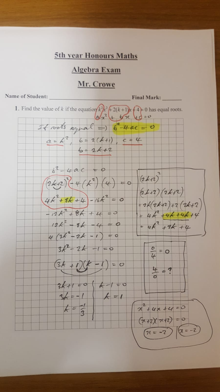 Algebra Worksheet – The Crowe's Nest